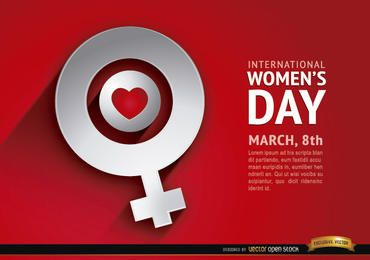 Fundo de símbolo feminino amor dia das mulheres