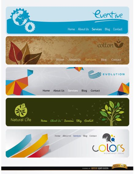 5 Modern website headers with menu