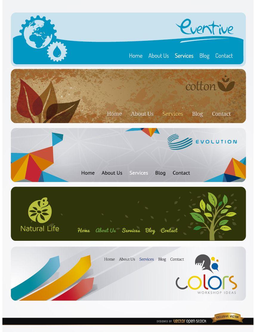 5 encabezados de sitios web modernos con menú