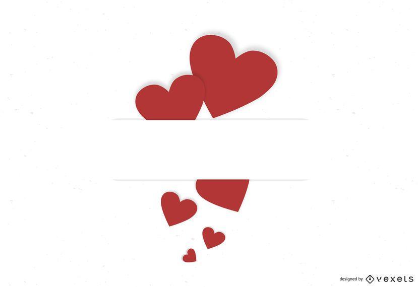 Tarjeta de San Valentín con corazones rojos etiquetados