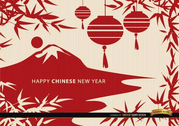 Chinese New Year landscape draw wallpaper
