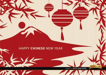 Fondo de pantalla de dibujo de paisaje de año nuevo chino