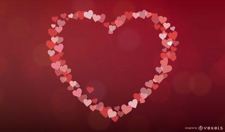 Convite colorido do Valentim dos corações de Bokeh