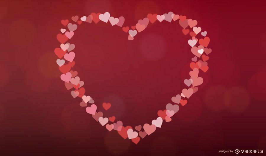 Colorful Bokeh Hearts Valentine Invitation