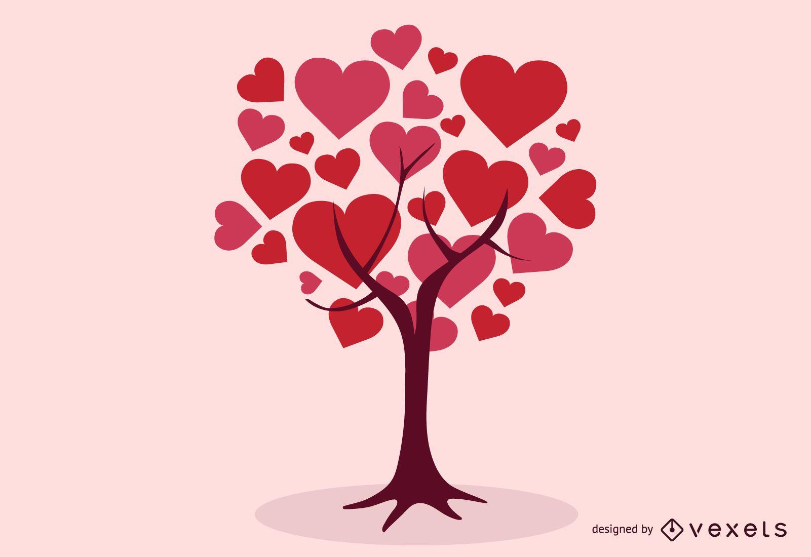 ?rbol de corazones abstractos