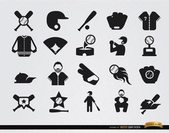 20 Baseball flat icons set