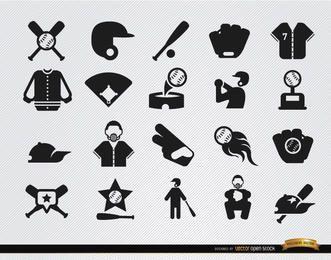 20 iconos planos de béisbol conjunto