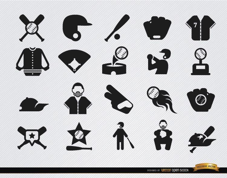 20 Baseball flat icons set