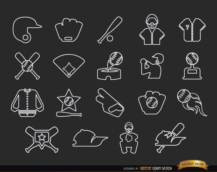 20 pacote de ícones de traço de beisebol