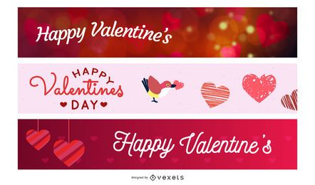 Funky & Modern 3 Valentine Banners