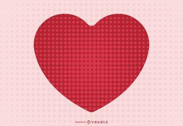 Coração vermelho em meio-tom abstrato