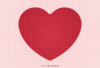 Red Heart on Abstract Halftone