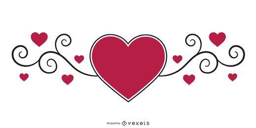 Redemoinhos encaracolados com corações
