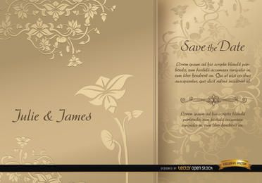 Cartão de casamento manga floral dourado