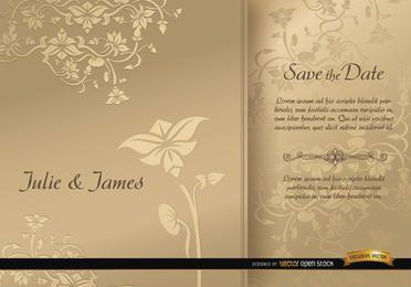 Invitación de boda floral con manga dorada