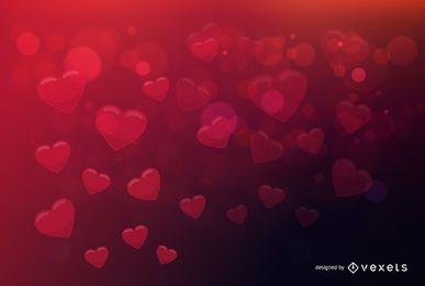 Fondo de San Valentín corazones bokeh fluorescente