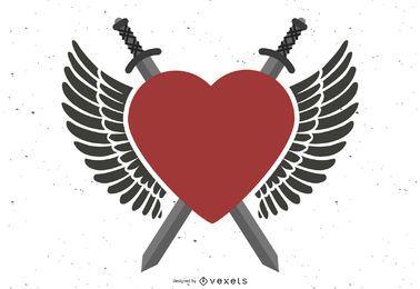 Espadas cruzadas de corazón de alas poderosas