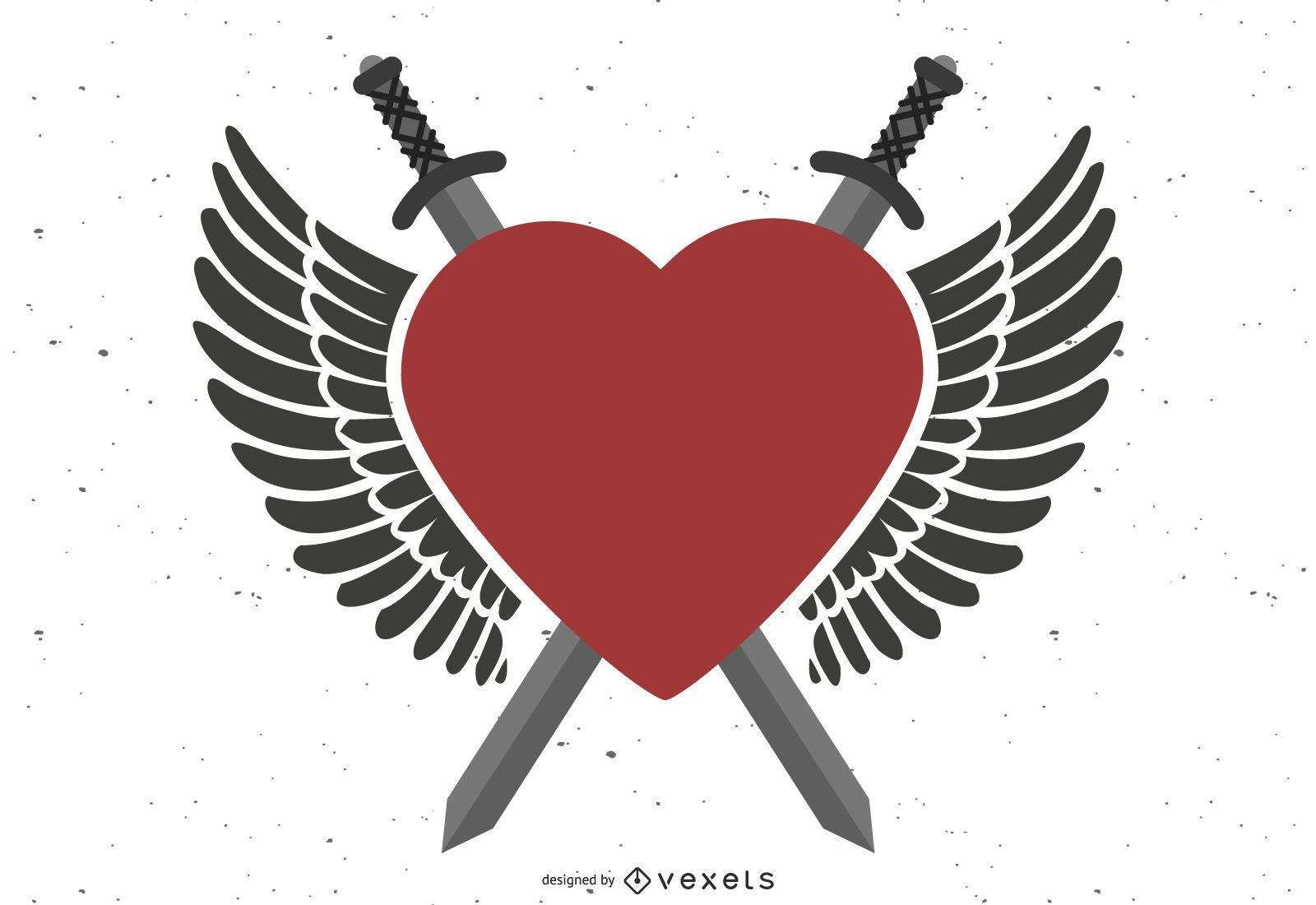 Mighty Winged Heart Crossed Swords
