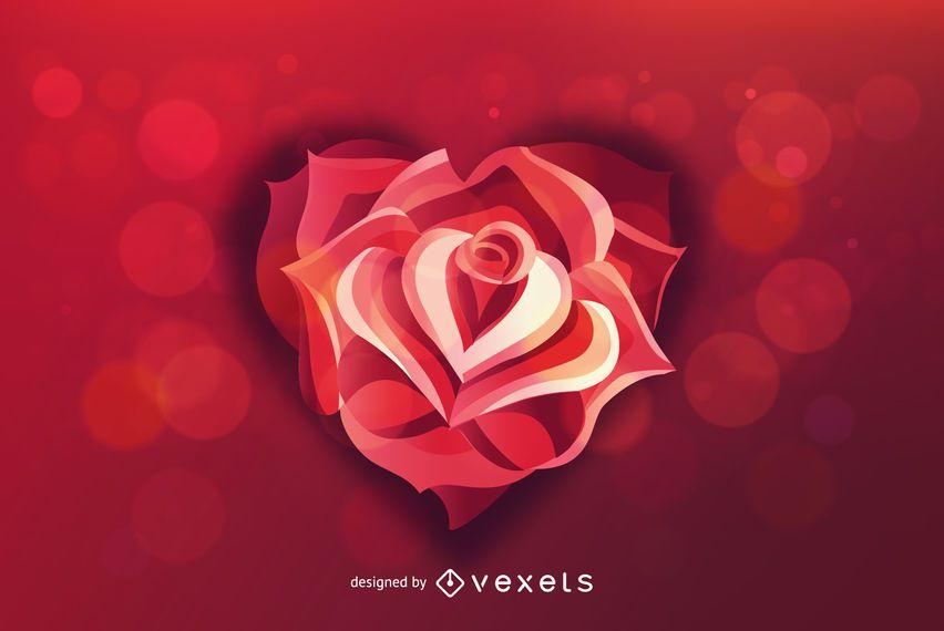 Rosa corazón fondo de San Valentín