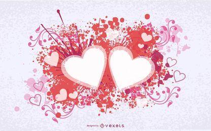 Cartão de dia dos namorados com corações com redemoinhos salpicados
