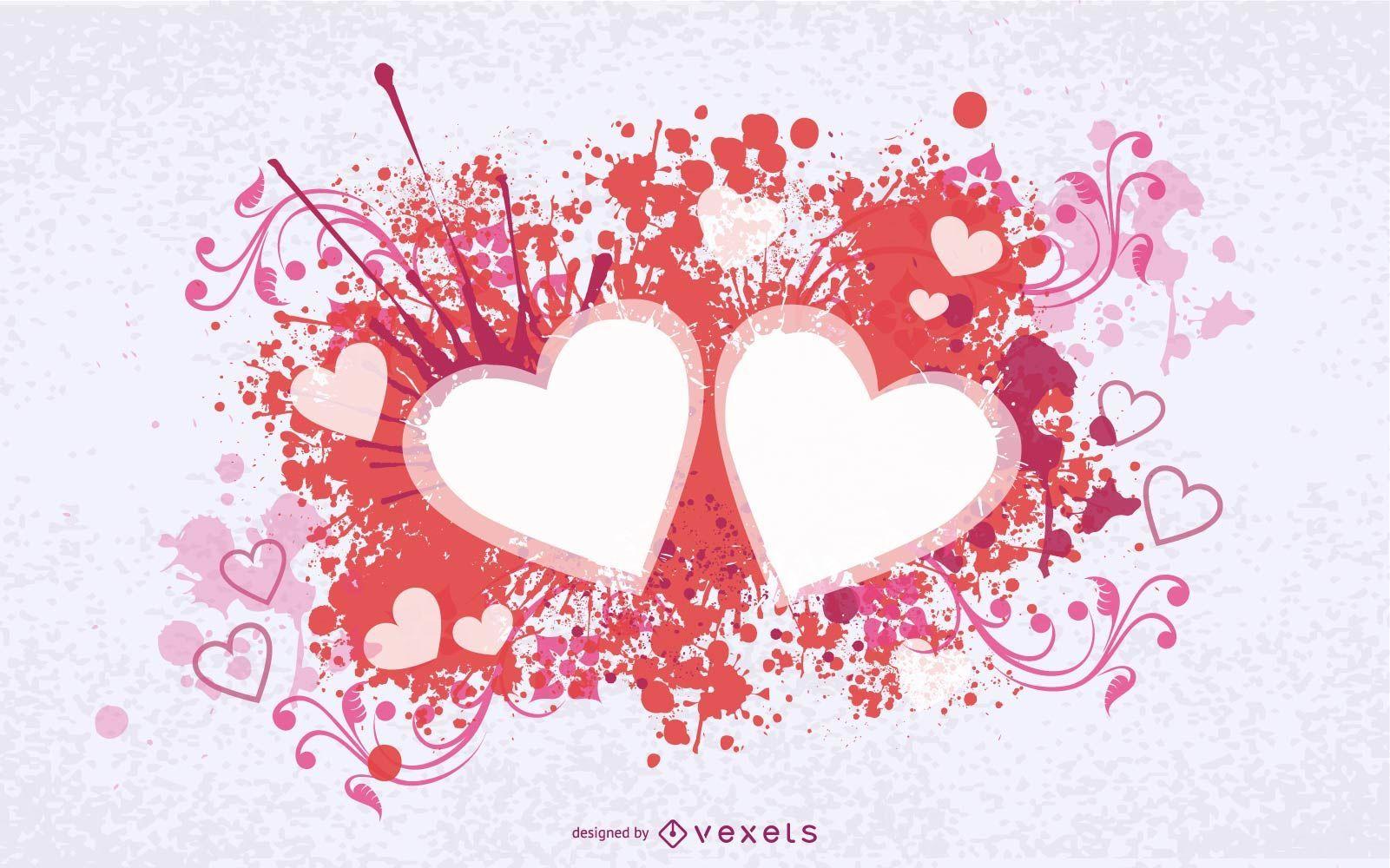 Splashed Swirls Hearts Valentine Card