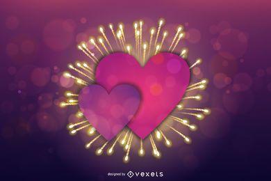 Tarjeta púrpura del fuego artificial de la tarjeta del día de San Valentín del corazón