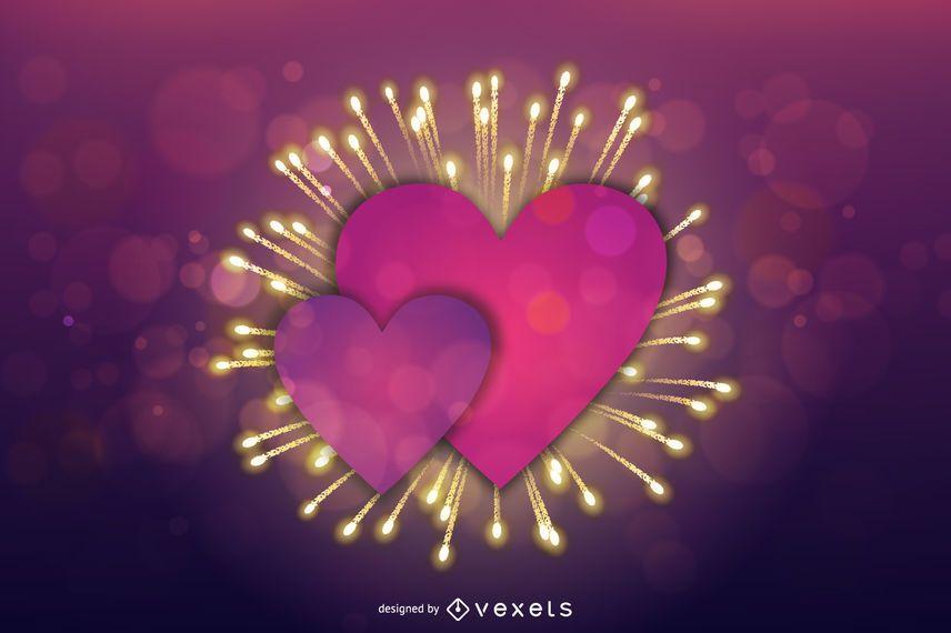 Lila Herz Valentine Feuerwerkskarte