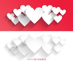 Feixes de coração de dia dos namorados com corte de papel