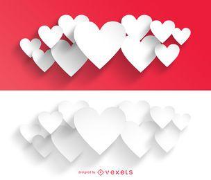 Pacotes de coração de Valentine de corte de papel