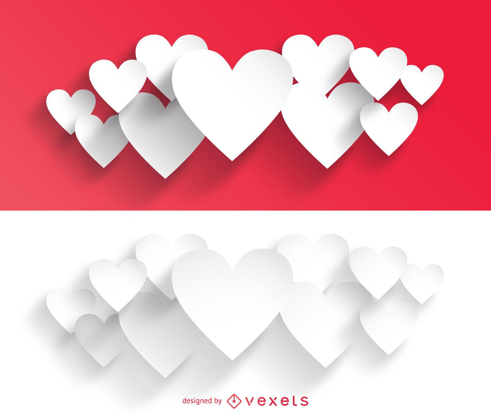 Paquetes de corazones de San Valentín para cortar papel