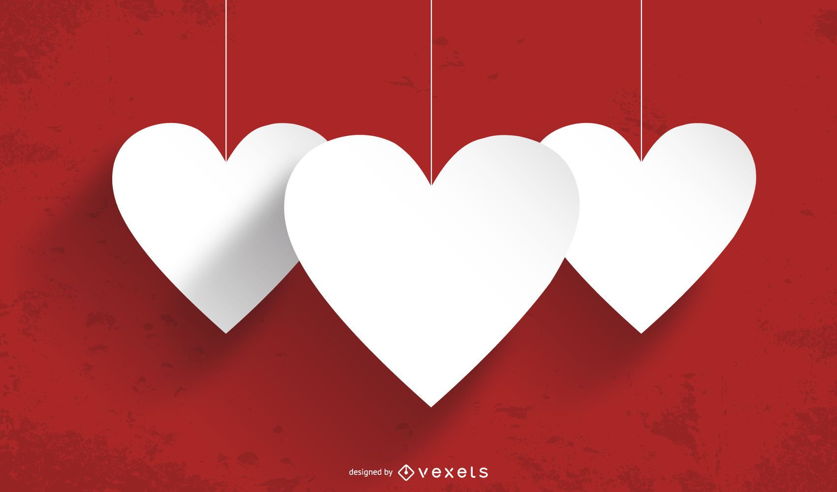 Hanging Paper Cut Hearts Grunge Background