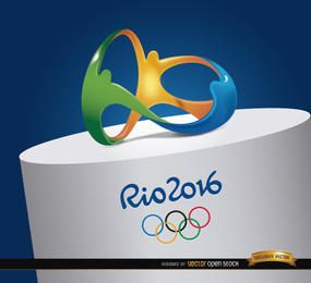 Logo der Olympischen Spiele von Rio 2016 an der Spitze