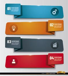 4 banners de etiqueta de trabalho