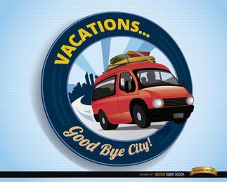 Viagem de van com logotipo de férias
