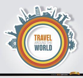 Monumentos, ao redor, mundo, círculo, logotipo