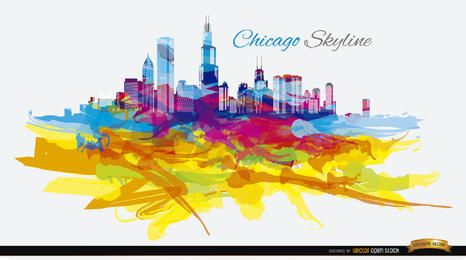 Psychedelyc colorful Chicago skyline