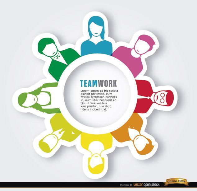Gente de trabajo en equipo ejecutivo alrededor del círculo