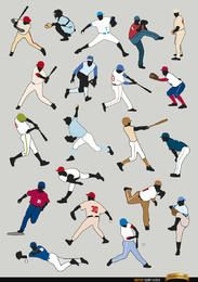 20 Baseball players silhouettes