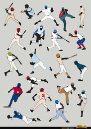 20 Silhouetten von Baseballspielern