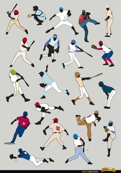 20 silhuetas de jogadores de beisebol