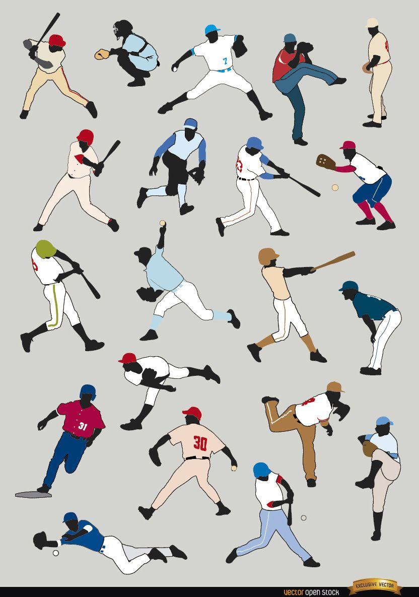 20 Baseball players silhouettes
