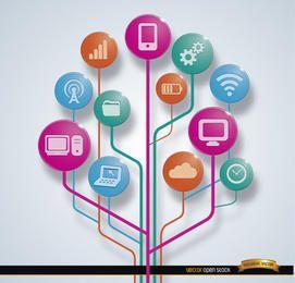 Iconos de conexiones de herramientas de computadora de aplicaciones