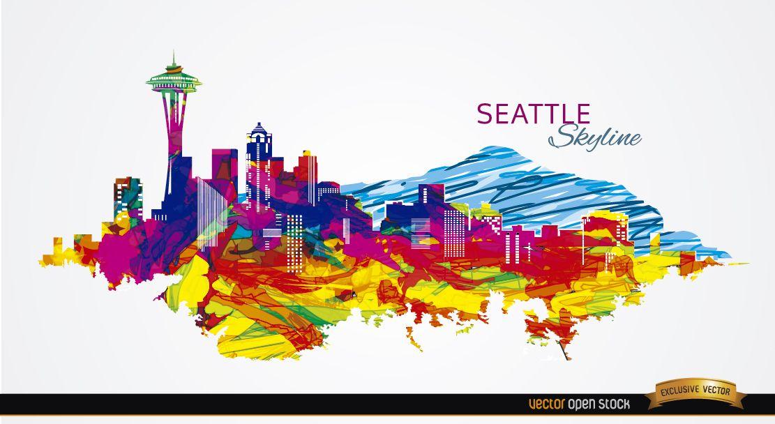 Trazos coloridos horizonte de Seattle
