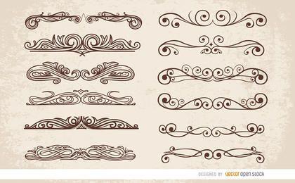12 adornos de remolinos divisores