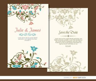 2 beautiful floral wedding invitations