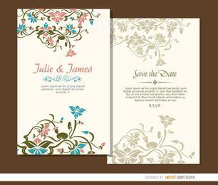 2 schöne Blumenhochzeitseinladungen