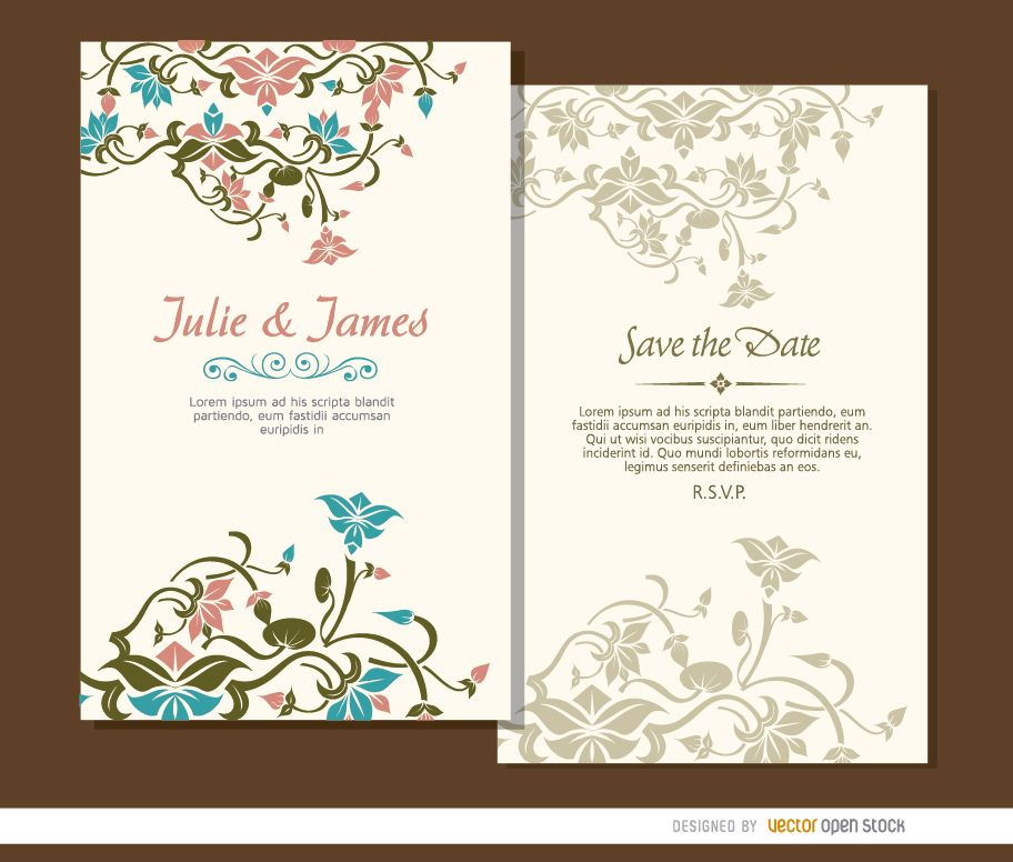 2 Beautiful Floral Wedding Invitations Vector Download
