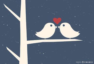 Pássaros do amor no ramo de árvore