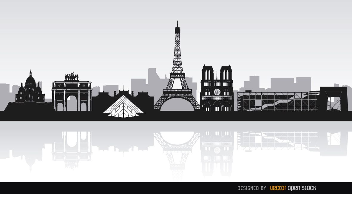 Paris Skyline Landmarks Vector Download