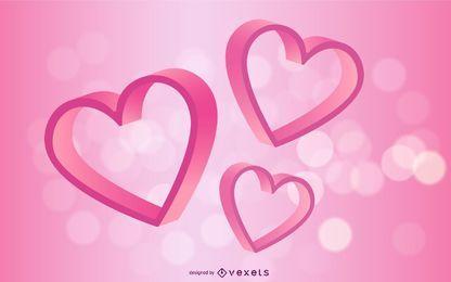 Tarjeta de San Valentín corazón 3D colorido